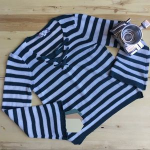 Striped V Neck Knit Sweater Pullover